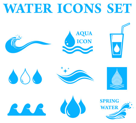 blue water icons set with drop and wave silhouette