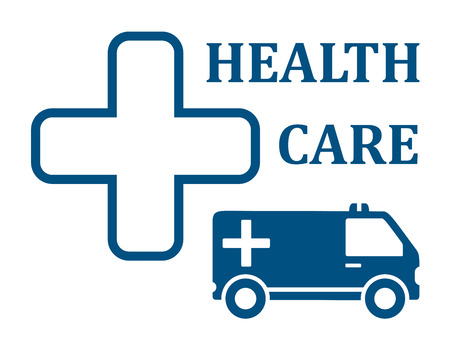 infirmary: health care symbol with ambulance car icon
