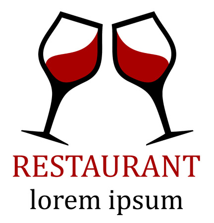 clink: restaurant icon for menu background with two glass clink Stock Illustratie