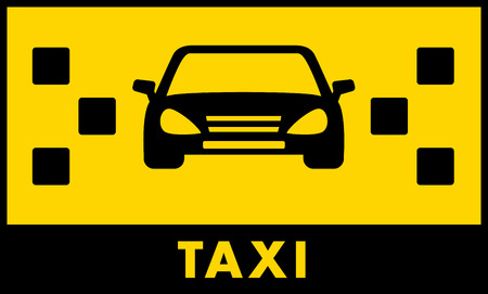 fare: taxi cab icon with car and yellow backdrop for text