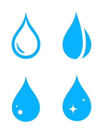 wetness: blue isolated droplet silhouette set on white background