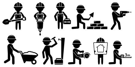 albañil: constructores aislado negro establecidos con las herramientas en el fondo blanco