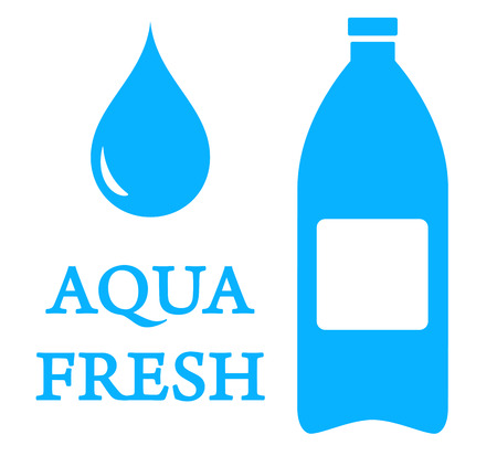 aeration: blue drinking water symbol with drop and plastic bottle