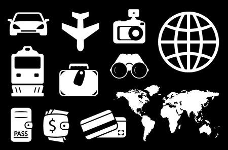 locomotion: set of travel white icon on black background