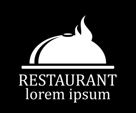 commercial kitchen: black restaurant menu icon with dish silhouette Illustration