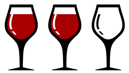 red wine glasses: set isolated wine glasses with one empty