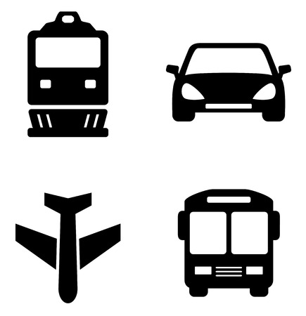 locomotion: set icons with isolated black transport  silhouette
