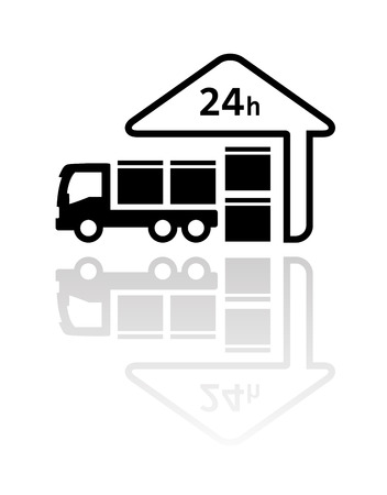 24 hour: 24 hour delivery symbol with load package on truck and store silhouette