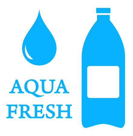 wetness: blue aqua icon with bottle and water drop Illustration