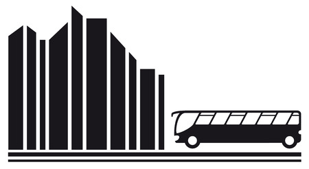 intercity: travel symbol with moving bus in city black silhouette