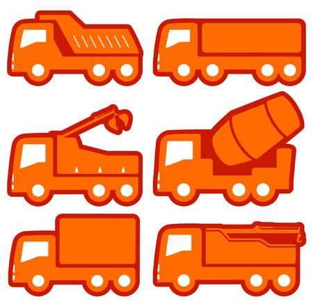 cisterns: yellow industrial transport set on flat design style