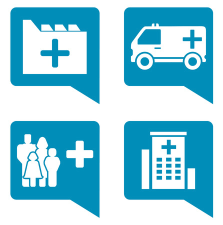 infirmary: medical blue icon set for health services