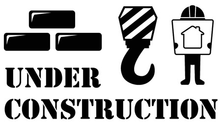 under construction symbol: black under construction symbol with architect and building material