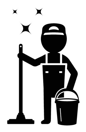 wet cleaning: isolated cleaner man silhouette cleaning company symbol Illustration