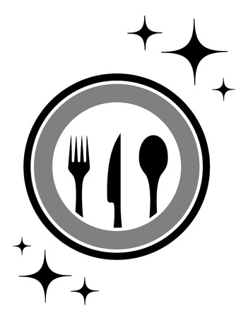 kitchen ware: black dinner restaurant icon with kitchen ware Illustration