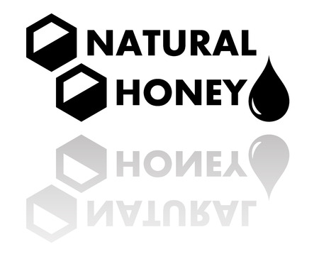 creep: black natural honey symbol with reflection silhouette Illustration