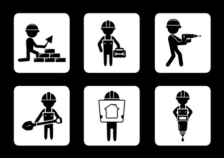 construction equipment: set black construction icons with builders and tools