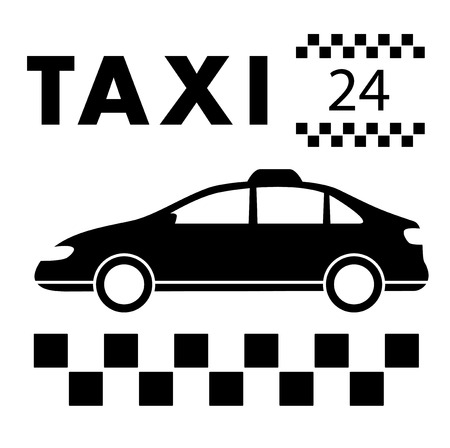 jorney: taxi signboard around the clock services symbol Illustration