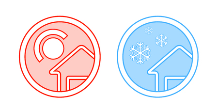 cold room: two isolated climate control round icon with sun and snow