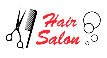 haircutting scissors: style hair salon icon with barber tools Illustration