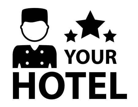 porter: hotel symbol with porter and star silhouette