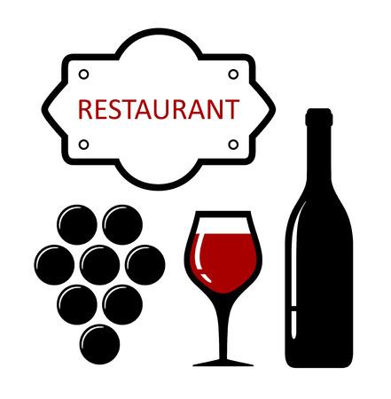 bouteille de vin: Restaurant icône avec des raisins et la silhouette de verre de vin