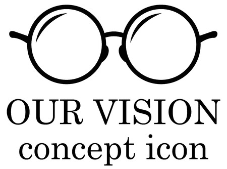 eye exams: our vision icon with black eyeglasses silhouette