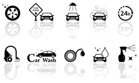 auto washing: black silhouetteicons with car wash isolated objects set