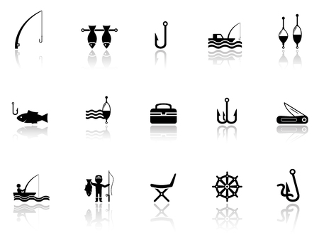 wade: black isolated  objects with fishing icons set Illustration