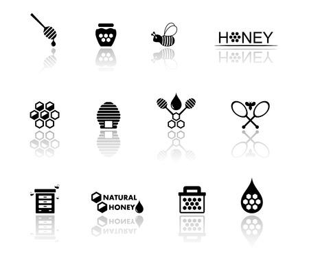 miel de abeja: objetos aislados negro conjunto con el icono de la miel
