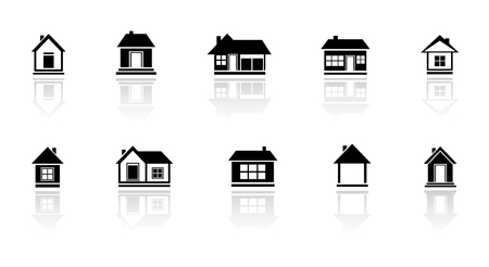 set isolated cottage and home with mirror reflection silhouette Stock Vector - 46069809