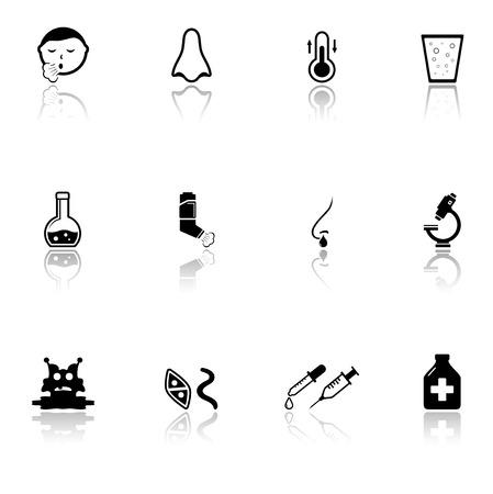 enfermos: iconos negros estilo establecen con el hombre enfermo, objetos médicos y espejo de reflexión silueta
