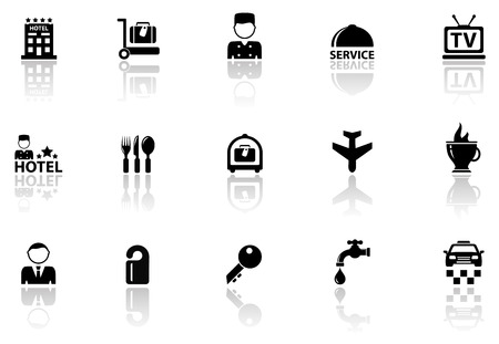 keycard: black hotel icons set with mirror reflection silhouette