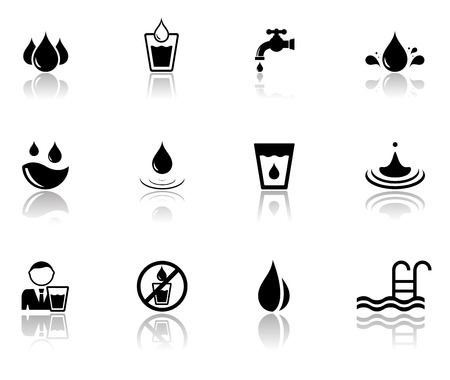 water reflection: isolated set of black water icons with mirror reflection silhouette