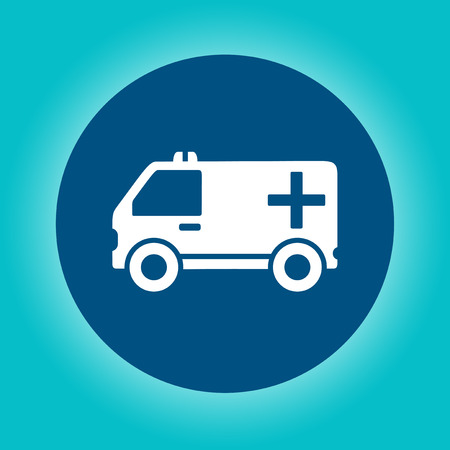 infirmary: blue icon with white ambulance car silhouette