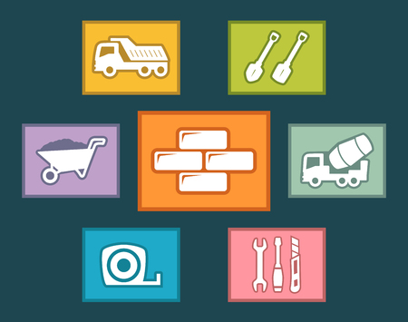 metre: colorful construction icons set on flat design Illustration