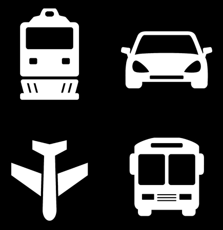 iconos de transporte: four white transport icons on black background