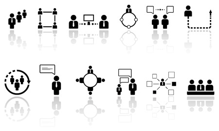 workteam: set of human resource icons with reflection silhouette