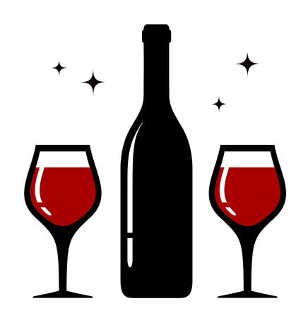 drinkable: isolated icon with bottle and two wine glasses Illustration