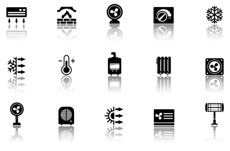 comfort: set of black isolated heating icons with reflection silhouette Illustration