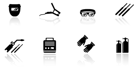 clamps: set of black isolated welding equipment icons Illustration