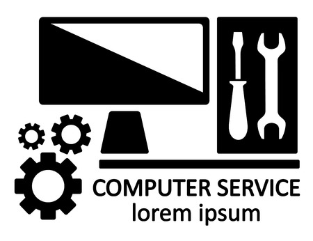 computer repair technician: isolated black computer service symbol with screwdriver and spanner