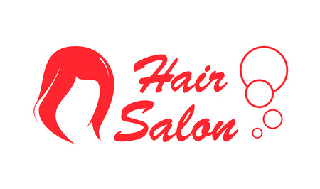 black wigs: hair salon red icon with woman wig silhouette