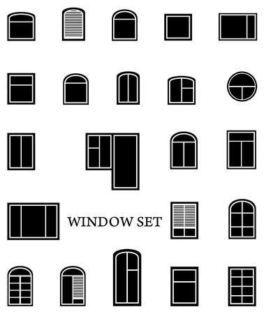 gap: black isolated window set on white background Illustration