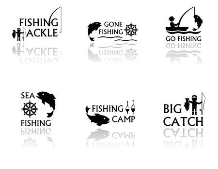 logo poisson: ensemble de symboles de pêche noir avec miroir de réflexion silhouette