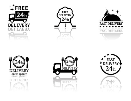 set of black food delivery icons with mirror reflection silhouette