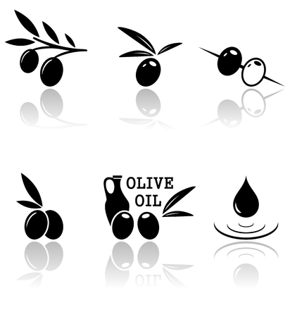 mirror reflection: set of olive icons with mirror reflection silhouette