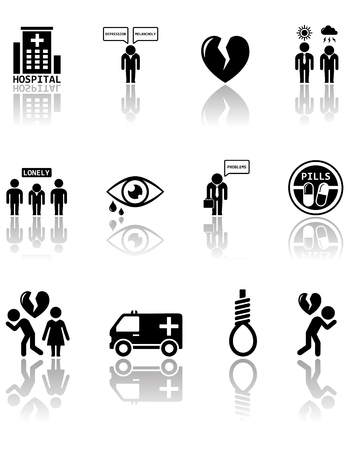 mental work: set of black mental health icons with mirror reflection silhouette