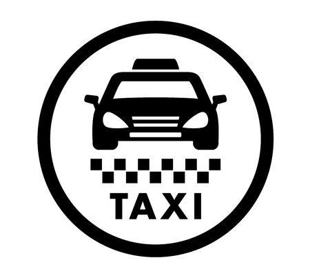 checkerboard backdrop: taxi cab services isolated round black icon