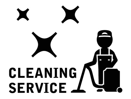 janitor: black cleaning service symbol with janitor and vacuum cleaner
